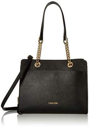 Calvin Klein Hayden Saffiano Leather Organizational Chain Satchel