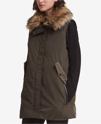 DKNY Faux-Fur-Trim Vest