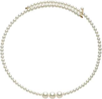 Mizuki Triple White Cultured Pearl And Stainless Steel Choker