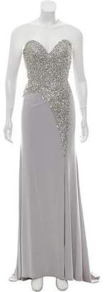 Terani Couture Embellished Strapless Evening Dress w/ Tags