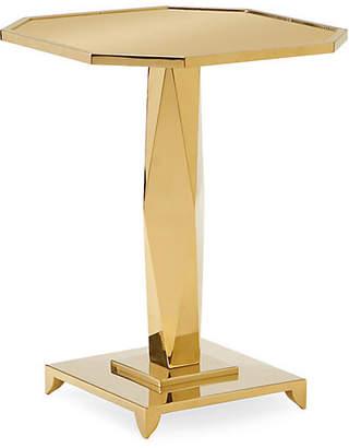Caracole Pedestal Side Table - Polished Gold