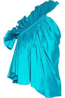 Marques Almeida Marques' Almeida One-Shoulder Ruffled Silk-Satin Top