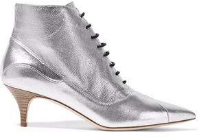 M Missoni Metallic Textured-Leather Ankle Boots