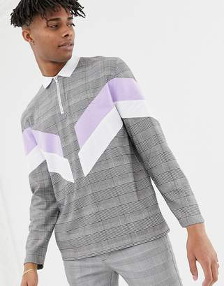 Asos Design DESIGN relaxed long sleeve woven check polo with cut and sew panels and zip neck