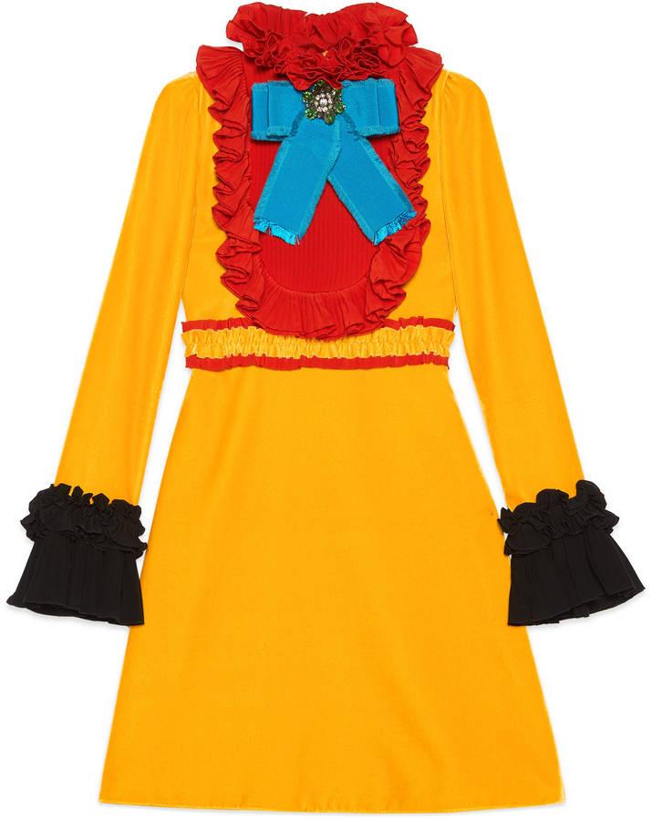 GucciVelvet and silk ruffle dress