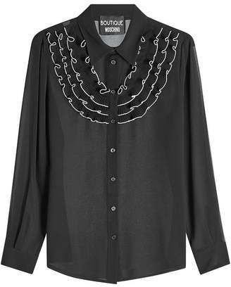 Moschino Crepe Blouse with Ruffled Bib