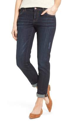 Caslon Distressed Stretch Boyfriend Jeans (Regular & Petite)
