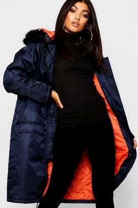 boohoo Contrast Lining Faux Fur Trim Longline Parka