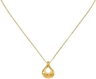 Italian Gold Tear Drop Pendant w/ Chain, 14K