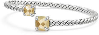 David Yurman Châtelaine Faceted 18K & Sterling Silver Bypass Bracelet with Diamonds