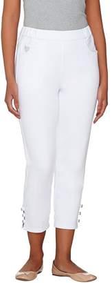 Factory Quacker DreamJeannes Rhinestone Button Crop Pants