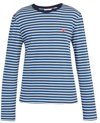 Ami De Coeur Embroidered Cotton Breton T Shirt - Mens - Blue White