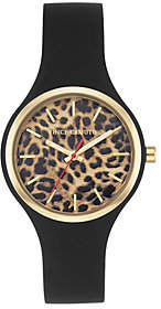 Vince Camuto Women's Leopard Black Silicone Strap Watch