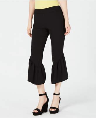 INC International Concepts I.n.c. Cropped Ruffle-Hem Crepe Pants, Created for Macy's