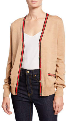 Tory Burch Madeline Wool V-Neck Button-Front Cardigan w/ Contrast Trim
