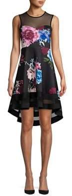 Quiz Floral-Print Illusion Neckline A-Line Dress