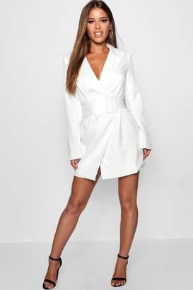boohoo Petite Belted Asymmetric Blazer Dress