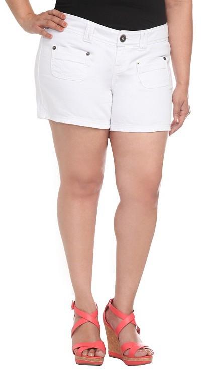 White Patch Pocket Shorts