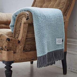 Bottle Green Homes Cashmere And Merino Duck Egg Blue Throw