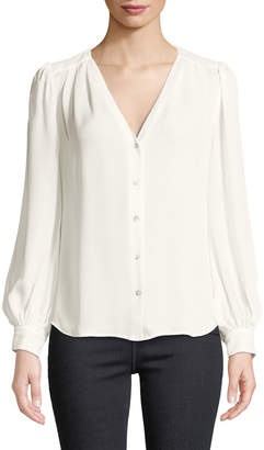 L'Agence Giana Pleated Button-Front Silk Blouse