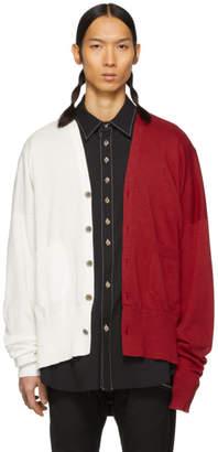 Sulvam White and Red Hinomaru Cardigan