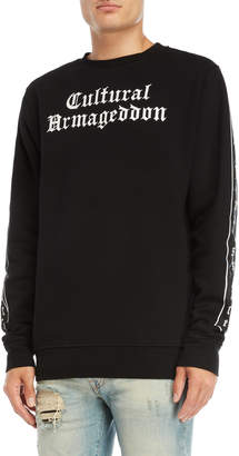 Marcelo Burlon County of Milan Black Graphic Crew Neck Fleece Sweatshirt