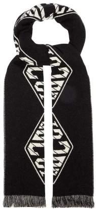Gucci Logo Pattern Wool Blend Scarf - Mens - Navy Multi