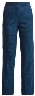 Etro - Violante Floral Jacquard Trousers - Womens - Blue Multi