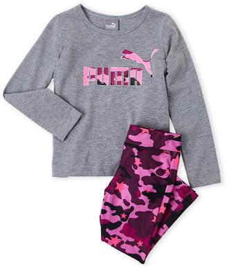 Puma Toddler Girls) Two-Piece Long Sleeve Logo Tee & Camo Leggings Set