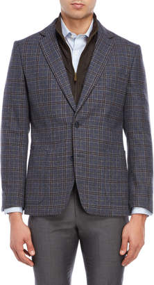English Laundry Blue Plaid Bibbed Blazer