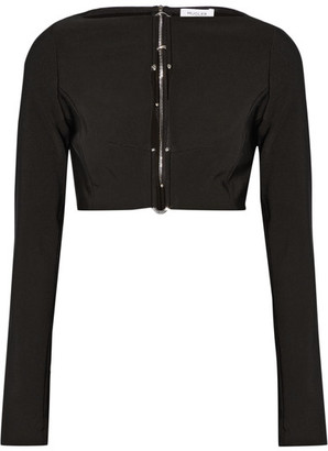 Mugler - Cropped Embellished Cutout Stretch-cady Top - Black $840 thestylecure.com