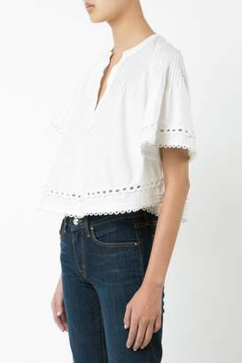 Derek Lam 10 Crosby Embroidered Pintuck Top