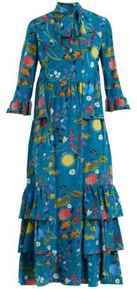 Borgo de Nor Aude Surreal Garden Print Silk Dress - Womens - Blue Print