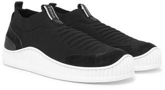 Ermenegildo Zegna Suede, Leather and TECHMERINO Mesh Slip-On Sneakers - Black