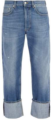 Alexander McQueen Floral Embroidered Straight Leg Jeans - Mens - Light Blue
