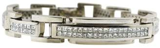 14K White Gold Chain Link Bracelet With Diamonds Biker Look Men's