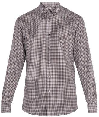 Ermenegildo Zegna Micro Gingham Cotton Shirt - Mens - Green Multi