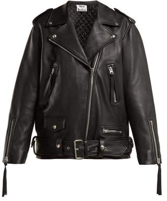 Acne Studios Leather Biker Jacket - Womens - Black