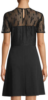 Nanette Lepore Nanette Lace-Yoke Fit & Flare Dress