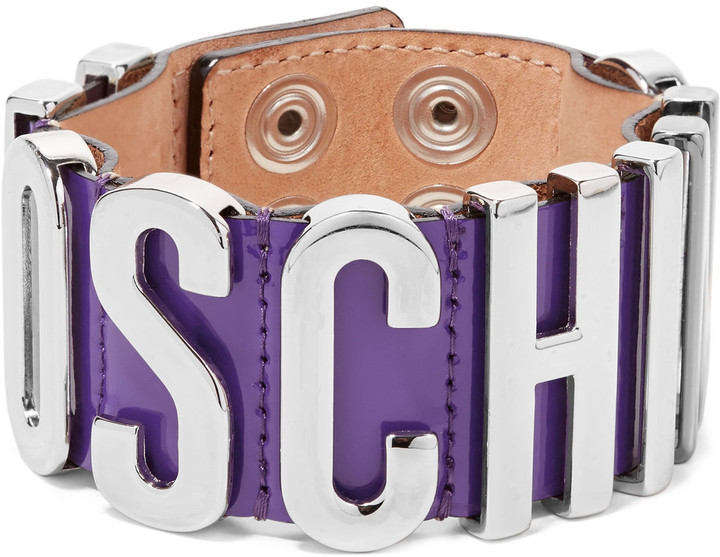 MoschinoMoschino Patent-leather and silver-tone bracelet