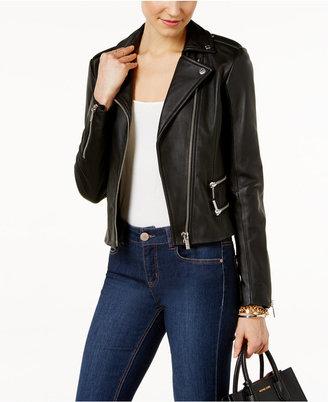 MICHAEL Michael Kors Leather Moto Jacket $495 thestylecure.com