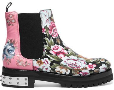 Alexander McQueenAlexander McQueen - Embroidered Printed Leather Chelsea Boots - Pink