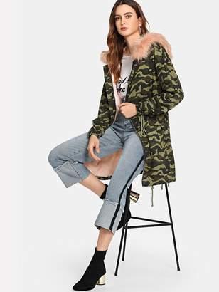65e56d90b76eba Shein Faux Fur Detail Fleece Lined Camo Parka Coat