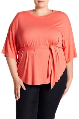 MELLODAY Front Tie Dolman Sleeve Top (Plus Size)
