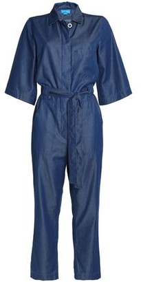 MiH Jeans Montara Cropped Cotton-Blend Chambray Jumpsuit