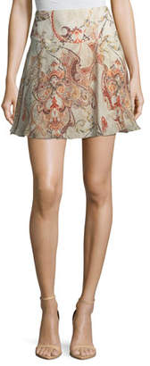 Haute Hippie Faye Damask-Print Silk Mini Skirt