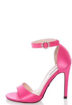Quiz Hot Pink Satin Diamante Barely There Sandals