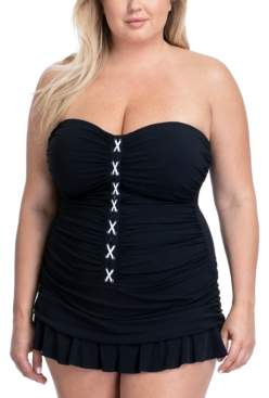 Gottex Plus Size Lace-Up Ruched Swimdress Women's Swimsuit