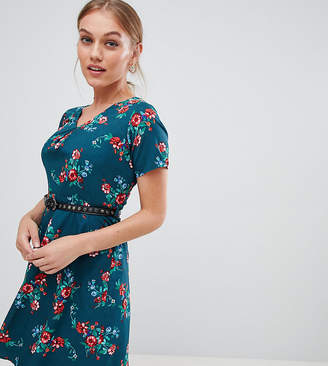 Yumi Petite floral print dress with studded belt