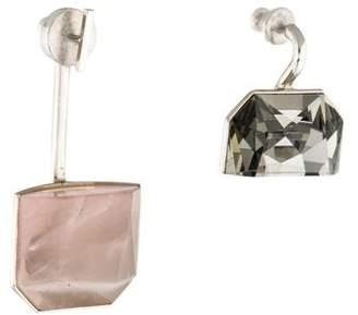 Christian Dior Set Rose Quartz & Crystal Mismatched Earrings